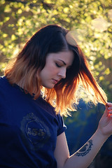 Why do we do what we do? (Eclipse and Vega) Tags: light summer portrait orange sun tree girl tattoo nikon lensflare blonde d40