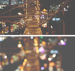 night lights (holly.) Tags: carnival lightbulb night dark lights evening bokeh ferriswheel blurr spark blahblah sydneyroyaleastershow highpointofview twosections wheelthingo goldenlightscomingout icanseealot
