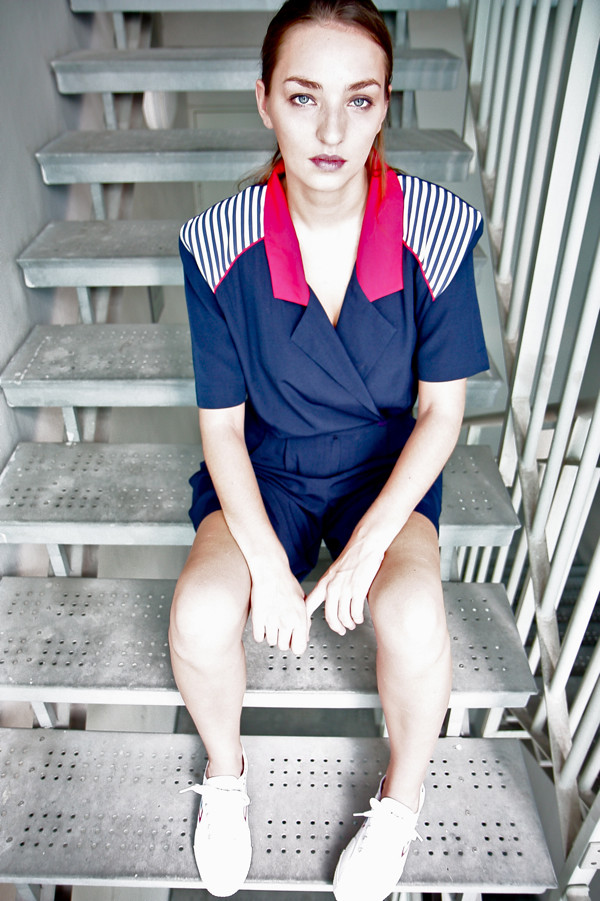 1980s nautical romper with thick shoulder pads; Red/Blue/White canvas Feiyue sneakers