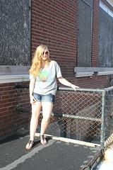 thunder thighs (taylor evans) Tags: girl sunglasses peace journey brickwall blondehair