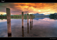 """Five"" (awhyu) Tags: old morning england lake west water rock sunrise four pier rocks district derwent north cumbria posts keswick"