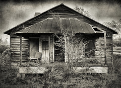Southern Standard (Brian Brown Photography/Vanishing Media) Tags: pictures blackandwhite usa abandoned overgrown architecture farmhouse rural ga photo weeds decay culture southern forgotten vernacular frontporch iconic glenville wayoflife oldchair 2011 naturalreclamation tattnallcounty vanishingsouthgeorgia copyrightbrianbrown