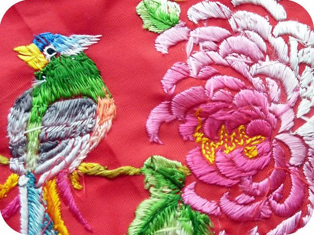 Kimono embroidery, reverse