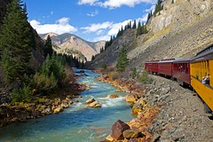 A miner's river (Rozanne Hakala) Tags: usa mountains southwest tourism nature water train river landscape rockies outdoors colorado silverton scenic tourist canyon historic mining explore journey co rockymountains durango sanjuanmountains miners animas steamlocomotive nationalhistoriclandmark animasriver dsng nationalregisterofhistoricplaces sanjuannationalforest durangosilvertonnarrowgaugerailroad historiccivilengineeringlandmark heritagerailroad