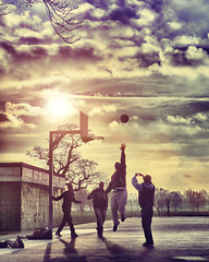 London Spring Sunset (!borghetti) Tags: park uk light sunset summer playing game london texture sports basketball sport kids clouds canon ball court spring shot action unitedkingdom textures flare activity clapham claphamcommon borghetti 2470mm