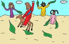 Jesus riding on a donkey