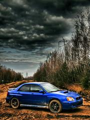 Dramatic Car (MomoFotografi) Tags: auto blue sky cloud car sport electric clouds digital japanese mud rally dramatic fast olympus dirty dirt subaru impreza wrx sti zuiko tone hdr e5 boue zd 1454mm 4awd