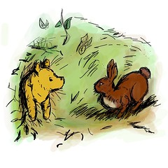 Today's iPad sketch:  Pooh stuck in Rabbits house, in the original E.H. Shepards style. #adobeideas (Jeffrey Rodgers) Tags: pooh winniethepooh ehshepard adobeideas ipadsketching