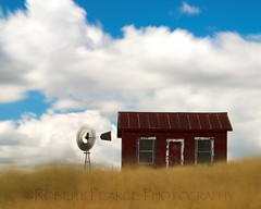 Transcendental Dimensionality (Robert Pearce Photography) Tags: california old longexposure red abandoned windmill grass clouds farmhouse landscape wind antique may bluesky western telegraph f11 30seconds calaverascounty 2011 nikond200 northvalley blowinggrass bwfilters robertpearce robertpearcephotography transcendentaldimensionality