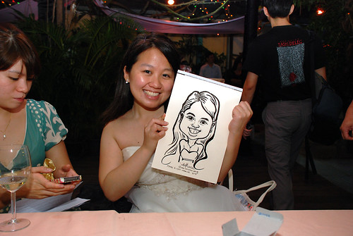 Caricature live sketching for Mark and Ivy's wedding solemization - 13