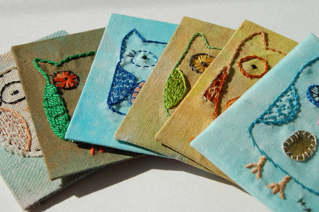 Embroidered Owl ATCs