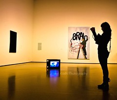 The Photographer (Violet Kashi) Tags: camera nyc newyorkcity art girl silhouette museum modern reflections tv candid paintings moma