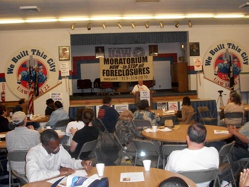 "Moratorium NOW! Coalition conference held at UAW Local 22 on ""How the Banks Destroyed Detroit."" The event took place on June 11, 2011. (Photo: Abayomi Azikiwe) by Pan-African News Wire File Photos"