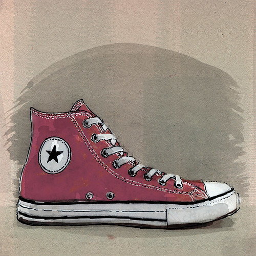Chucks, ink and watercolors