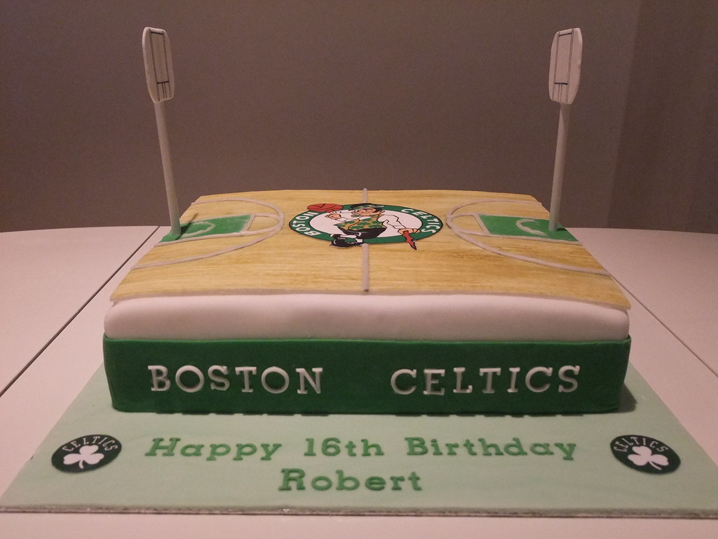 Boston Celtics Cake AndyK959 Tags Birthday White Green Basketball Court 16