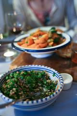 Mograbiah couscous with broad beans, peas, mint & lemon