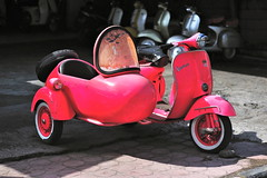 Pink Vespa 150 and sidecar (jeremyhughes) Tags: pink bali color indonesia nikon vespa bright 150 colourful roadside nikkor sidecar threewheels vespa150 d700