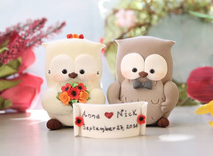 Unique Owls cake toppers - bride groom red poppies orange roses banner (PassionArte) Tags: owl gufo cake toppers bride groom ivory white tan brown gray grey purple teal green red rainbow names handmade etsy personalized unique cute country rustic funny elegant custom bouquet bridal gift anniversary poppies