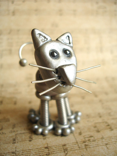Silver Sam Cat Robot Sculpture - Left Side