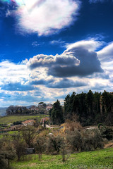 Hello, spring [HDR] (Daniele Nicolucci photography) Tags: life above blue houses light sky cloud sun snow black tree green water rain skyline clouds contrast landscape spring infinity azure olive cycle cumulus saturation flare vegetation hdr cirrus chieti