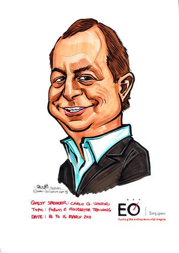 Mr Carlo G Santoro caricature for EO Singapore