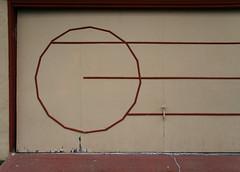 Designery (Dill Pixels (THE ORIGINAL)) Tags: door red circle design town garage suburbia line suburb elcerrito minimalism trim garagedoor