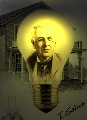 Thomas Edison in the Bulb