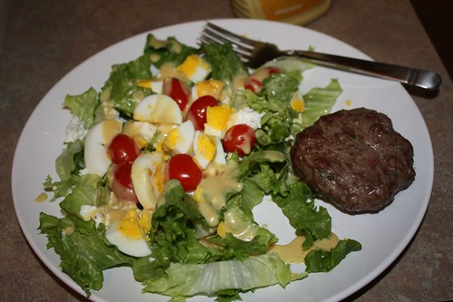 Awesome salad with seasoned grass-fed beef patty by laurelfactorial