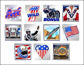 free Evel Knievel slot game symbols