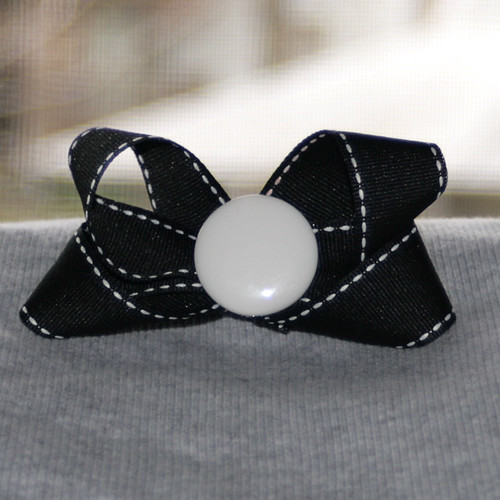 "3 1/2"" Bow with button center on ribbon covered, snap hair clip by Ladybugs & Bullfrogs"
