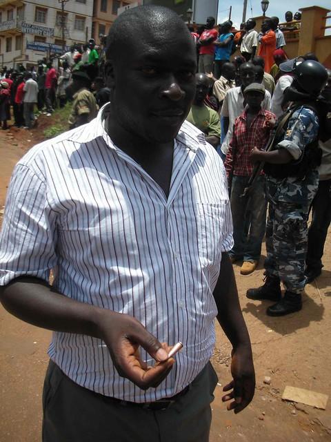 Witness holding bullet