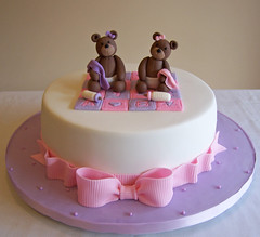 Baby bears - baby shower cake (cakespace - Beth (Chantilly Cake Designs)) Tags: bear pink toronto girl cake bottle purple beth lavender lilac bow designs bolo mississauga babyshower babybear baptismcake religiouscake firstcommunioncake mississaugacake cakespacebeth braziliancakestoronto cakechantilly