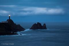 Lighthouse at Cabo Vilano (Zalacain) Tags: longexposure blue light sea lighthouse water clouds spain cloudy galicia atlanticocean acoruña vilano gettyimagesiberiaq2