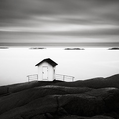 Lighthouse (Maria Stromvik) Tags: longexposure lighthouse house seascape building water clouds fence coast seaside sweden cliffs northsea bohusln waterscape lysekil ndfilter bwnd100