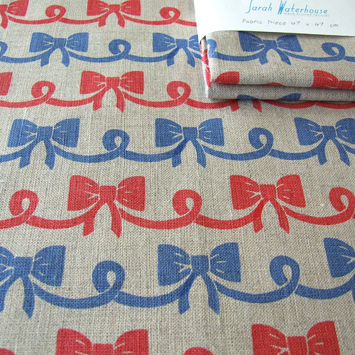 Nautical Bows hand printed fabric