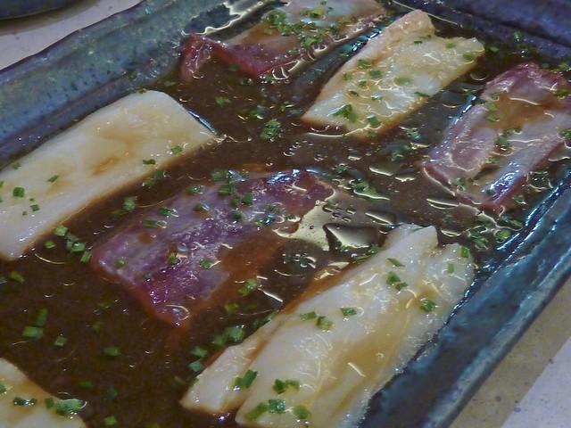Sashimi de Pez Mantequilla y Atún al estilo de Barra de Sushi de Shikku Izakaya