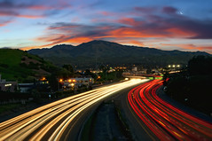 Walnut Creek Sunrise (Lee Sie) Tags: california street city morning sky clouds sunrise lights traffic overpass freeway commute walnutcreek streaks mountdiablo ygnaciovalleylighttrails