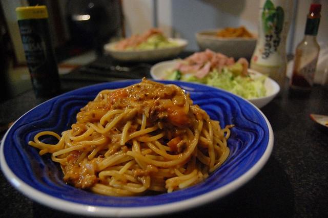 同居人おじきが作る、昨日の偽ストロガノフアレンジからのボロネーゼ風!美味い! #jisui