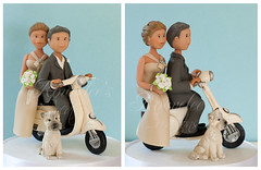 Vespa Wedding Cake Topper (Rouvelee's Creations) Tags: wedding dog groom bride vespa polymerclay caketopper cairnterrier weddingcaketopper rouvelee