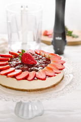 """Cheese cake"" alle fragole (Azabel) Tags: food recipe vegan strawberries cheesecake vegetarian labna fragole marmellata"
