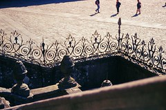 Plaza (amgirl) Tags: plaza shadow people stairs spain iron europe afternoon cathedral kodak stones catedral slidefilm galicia elite santiagodecompostela e6 lugo stjames escaleras iberia celts praza