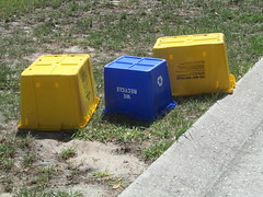 Thought the tiny blue bin was interesting.  I believe the yellow Rehrig's are 14 gallon. (FormerWMDriver) Tags: trash garbage box bin collection container rubbish waste refuse recycle recycling crate sanitation reuse recycler curbside