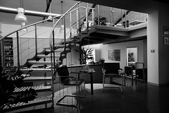 Ufficio (Paolo Bosco) Tags: bw white black stairs office chair 5 interior sony bn scala 16 pancake 16mm sedie ufficio bianco sedia nero interni nex chiars bibble bibblepro bibblelabs nex3