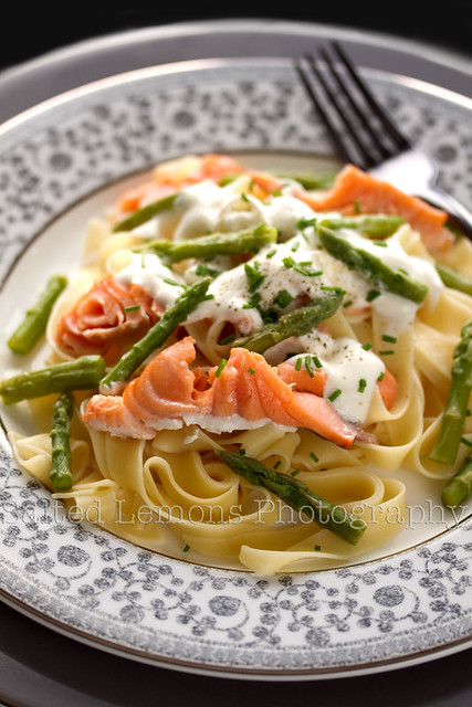 Tagliatelle with Salmon & Green Asparagus