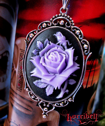 Lavender Rose Cameo Necklace