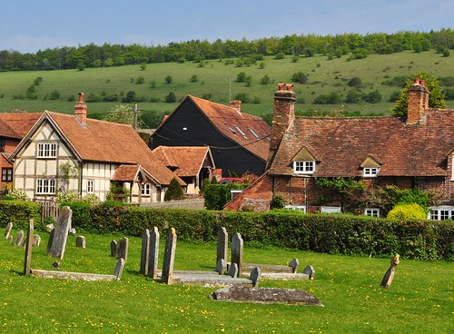 Turville churchyard, houses and hills