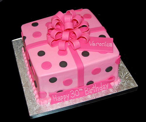pink and black package cake for 30 birthday