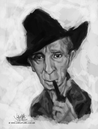 Digital caricature sketch study 2 of Norman Rockwell