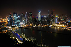 View of Singapore harbor from the top of the Marina Bay Sands