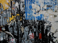 (Gabri Le Cabri) Tags: blue red white black texture yellow wall poster paint glue torn scaling saintouen